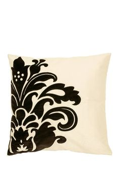 Damask Silhouette Pillow - White and Black by Surya on