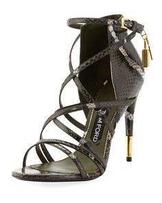snakeskin strappy d'Orsay sandal with Tom Ford signature yellow golden hardware.