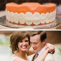 creative groom's cake - dentist cake - teeth cake - unique wedding cakes @Drew Cason Photography http://www.arkansasbride.com/blog/post/96571/style-and-elegance-crystallize-lauren-jackson-and-stephen-raines-real-little-rock-wedding