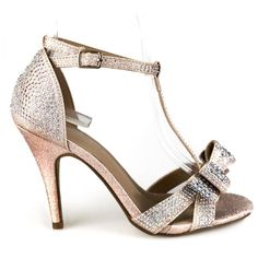 Alina-64 Champagne T-strap Bow Detail Single Sole Heels