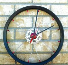 Bicycle Wheel Wall Clock, Hand Crafted from Used Bike Parts. Eco Friendly Gift, Minimalist Industrial Decor, Unique Art Piece for Man Cave