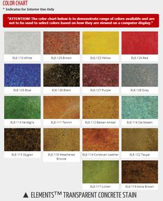 Erfield Color Offers A Line Of Water Based Concrete Stains Called Elements Transpa Stain It Features 18 Choices