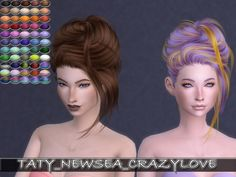 Newsea CrazyLove hair retexture by Taty86 at SimsWorkshop via Sims 4 Updates