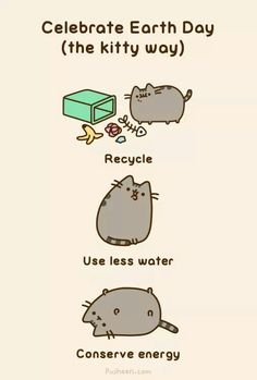 Pusheen the cat celebrates Earth Day the Kitty way