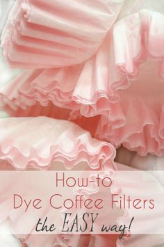 Bella Storia: How to Dye Coffee Filters the EASY Way! Stickers napkins party hats wrapping paper everything you need to throw a or retro party! And everything you need for your vintage style DIY project! Coffee Filter Roses, Coffee Filter Wreath, Coffee Filter Crafts, Coffee Crafts, Coffee Filter Art, Handmade Flowers, Diy Flowers, Fabric Flowers, Potted Flowers