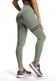 FITTOO Pantalon Yoga Femmes Taille Haute Legging de Sport Collant Vert M f8c55328520