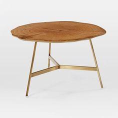 "End Grain Coffee Table 30"" diameter X 18"" high Dull brass base"