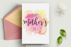 Mothers Day Cards Printable, Mothers Day Card Template, Printable Cards, Watercolor Birthday Cards, Birthday Card Drawing, Watercolor Cards, Diy Mother's Day Crafts, Mother's Day Diy, Mothers Day Crafts