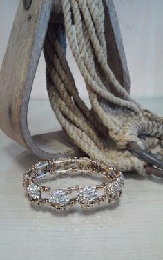 Bling Goldtone Sugar Skull Stretch Bracelet