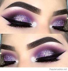 Amazing purple and glitter eye makeup