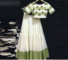 Designer lehenga off white lehenga readymade blouse lehenga choli for women fancy lehenga india Indian Lehenga, Green Lehenga, Indian Gowns, Indian Attire, Indian Wear, Indian Outfits, Lehenga White, Choli Designs, Lehenga Designs