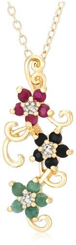 Yellow Gold Plated Sterling Silver Sapphire, « Holiday Adds