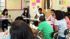 "Freshmen engage in a Socratic Seminar about their anchor text, ""Anthem"" by Ayn Rand"