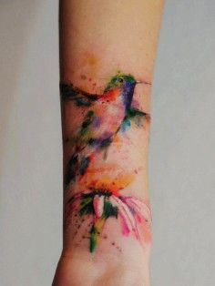 bird watercolor tattoos, flower tattoos, rib side tattoos, tattoo ideas | DIY Watercolor Tattoo