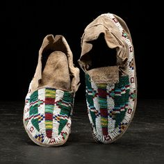Cheyenne Beaded Hide Moccasins from the Collection of Hon. Edward N. Stebbins (1835-1903) (4/8/2016 - American Indian and Western Art: Live Salesroom Auction)