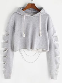 Heather+Grey+Drop+Shoulder+Ripped+Sleeve+Crop+Hoodie+