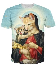 Holy Mother and Kitten T-Shirt Printed Shirts af352441fc503