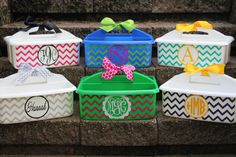 CHEVRON designed Personalized Caddy  - - - Must Haves for Camp and Dorm Room - - - Assorted Colors/Designs