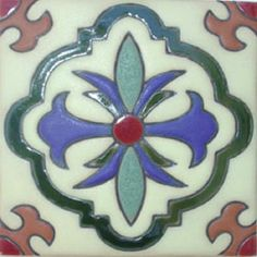 """Rustic relief tiles are highly decorative. They are created by Rustica House in Mexico and often used for kitchen backsplash and stair risers. Relief Tile """"Loreto"""" by Rustica House. #myRustica"""