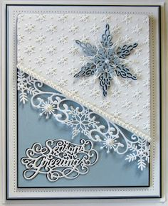 I like the raised snowflakes part on this card. PartiCraft (Participate In Craft): Christmas Double Days. 3d Christmas, Homemade Christmas Cards, Christmas Cards To Make, Xmas Cards, Homemade Cards, Handmade Christmas, Holiday Cards, Cards Diy, Beautiful Christmas