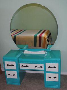 Waterfall Vanity Dresser with Mirror