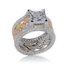 Victoria Wieck 5.9ct Absolute™ Tri-Color Princess-Cut and Pavé Encrusted Infinity Eternity Bridge Ring at HSN.com