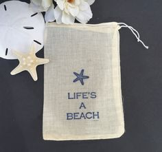 10 beach themed cotton favor bags beach wedding by EverlongEvents
