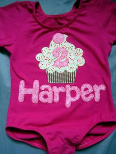 Applique Birthday Cupcake With Name And Age Baby Toddler Girls Leotard or Tee. $38.00, via Etsy.