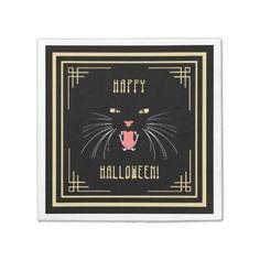 #Halloween Hissing Cat Black Elegant Paper Napkins - #Halloween happy halloween #festival #party #holiday