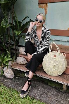 striped blouse + cropped pants + espadrilles + round straw bag.