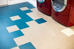 Forbo Modular Marmoleum.  100% Bio-based laundry floor.  Great alternative to vinyl and tile.