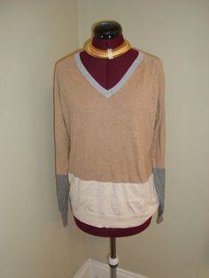 New WT J.C. Penney Sz L Women's 3 Tone Cashmere Blend Knit V Neck Sweater Top #JCPJCPenney #VNeck