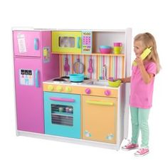 KidKraft 53100 Deluxe Big and Bright Wooden Pretend Play Toy Kitchen for Kids - Multicolor for sale online Toys For Little Kids, Toys For Girls, Kids Toys, Kitchen Sets For Kids, Big Kitchen, Toy Kitchen Set, Kitchen Oven, Cocina Kidkraft, Kitchen Playsets