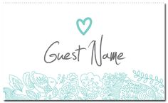 Turquoise Suite Guest Place Card - paper, seed, place, cards, printed, plain, add, ... - EcoCelebrations