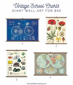 Need big affordable art? These vintage prints are 20 x 48 inches for only $50.
