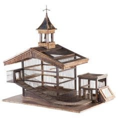Bird Cage For Sale. Beautifully designed bird cage in completely original condition, with feeding trough, ramp and bell tower. Made in France circa Home Design, Bird Cage Design, Bird Cages For Sale, Pet Bird Cage, Bird Trap, Antique Bird Cages, Chicken Cages, Bird Aviary, Pet Furniture