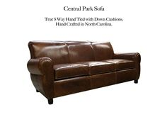 Central Park Leather Sofa by Casco Bay Furniture. Compare to Ralph Lauren Cape Lodge Collection, True 8 way hand tied with down cushions. Leather Furniture, Leather Sofa, Casco Bay, Central Park, Living Room Furniture, Cape, Cushions, Ralph Lauren, Collection