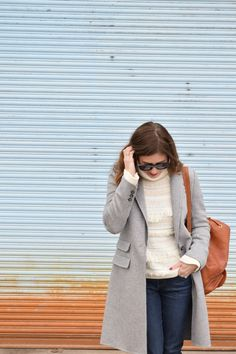 How to wear a long sleeve gray wool coat and chunky sweater for winter layer on Art in the Find.  winter outfit ideas | womens outfit ideas winter | gray coat outfit | grey coat outfit ideas | wool coat outfit gray | wool coat jeans winter outfit idea | womens fashion | street style | winter outfits | wool coat outfit ideas | gray wool coat winter |