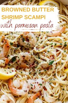 This browned butter shrimp scampi with parmesan pasta the perfect dinner for any occasion! Try this delicius meal for Valentines day! Protein packed, indulgent shrimp scampi!   date night   dinner recipes   shrimp recipes #shrimp #scampi #pasta #valentinesday Easy Pasta Recipes, Shrimp Recipes, Easy Meals, Pizza Recipes, Free Recipes, Night Dinner Recipes, Dinner Ideas, Best Italian Recipes, Favorite Recipes