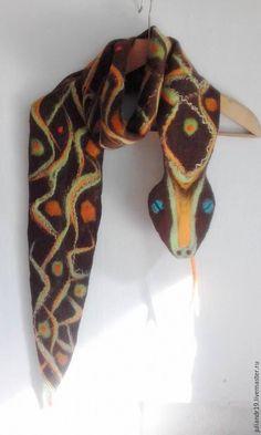 Купить Космическая Змея. Шерстяной мягкий шарф-игрушка для взрослых и детей - коричневый, в горошек, зеленый