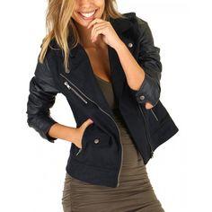 Navy Moto Jacket-AMBIANCE - Outerwear - Women