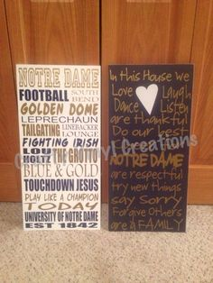 12x24 Sports Sign Notre Dame Fighting by CraftyVinylCreations, $40.00. For the Irish lover in us!