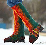 Купить или заказать Ботинки 'Remake',по мотивам ботинок 'Сhameleon'. в интернет-магазине на Ярмарке Мастеров. Красивые, комфортные,теплые ботинки,сваляны вручную из 100% овечьей шерсти породы Tiroler Bergschaf . Основной цвет- изумрудный,декор - синий,бордо и оранж. Стильные шнурки ручной работы,из шерсти мериноса и вискозного волокна. Качественная подошва ТЭП,проклеена и прошита итальянской вощеной нитью. Ботинки декорированы вискозным волокном и натуральной кожей. Все лечебн...
