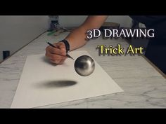Realistische Zeichnung einer Kugel als Optische Täuschung - YouTube