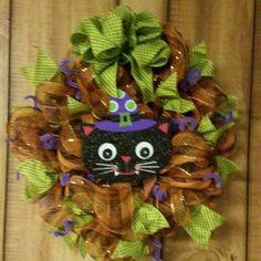 Homemade Black Cat Wreath