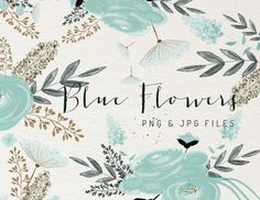 wedding invitation elements, card design elements, watercolor, branches, flowers Blue Flowers - Illustrations - 1