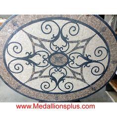Round Floor Medallion non-polished mosaic tile medallions Inlay design Foyer Flooring, Stone Flooring, Tile Entryway, Flooring Ideas, Mosaic Art, Mosaic Tiles, Mosaic Floors, 3d Printing Business, Diy Bathroom Decor