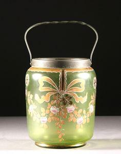Danish enameled  glass cookie jar. 19th century
