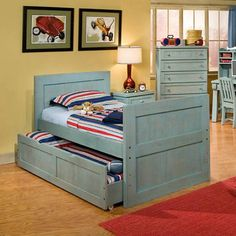 Casual Wood Weathered Blue Captains Bed