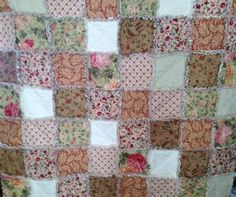 Rag Quilt Blanket Peach Cream Green Pink Floral by nanaswoolies